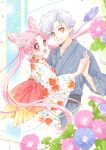 1boy 1girl :d animal_print bishoujo_senshi_sailor_moon chibi_usa couple double_bun fish_print flower goldfish_print hair_flower hair_ornament helios_(sailor_moon) hetero interlocked_fingers ipomoea japanese_clothes kimono looking_at_viewer older open_mouth pink_eyes pink_hair red_eyes rose sarashina_kau short_hair simple_background small_lady_serenity smile twintails white_hair white_rose yellow_eyes yukata