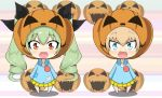 2girls :d anchovy bangs blonde_hair blouse blue_blouse blue_eyes chibi commentary drill_hair eyebrows_visible_through_hair eyes_visible_through_hair fang girls_und_panzer green_hair halloween_costume hat highres jack-o'-lantern jack-o'-lantern_print jinguu_(4839ms) katyusha kindergarten_uniform long_hair long_sleeves looking_at_viewer multiple_girls open_mouth orange_hat pleated_skirt red_eyes skirt smile standing twin_drills yellow_skirt younger