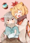 2girls absurdres animal_ears bangs bishamonten's_pagoda blonde_hair blush capelet closed_eyes closed_mouth fangs green_hair grey_scarf grey_skirt hair_ornament hand_on_another's_head highres jewelry long_sleeves mouse_ears mouse_tail multiple_girls nazrin open_mouth pendant pink_background red_eyes scarf simple_background skirt smile sweatdrop tail tiger_ears tiger_tail toramaru_shou touhou upper_body useq1067 wide_sleeves