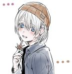 androgynous autumn_leaves beanie blue_eyes blush brown_hat character_request copyright_request earrings erubo hair_between_eyes hat holding holding_leaf jewelry leaf long_sleeves looking_at_viewer open_mouth short_hair smile solo white_background white_hair
