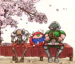 1boy armor cacodemon cherry_blossoms commentary_request dango doom_(game) doomguy eating food hanami helmet highres horns kurashiki_nanka revenant_(doom) sitting skeleton wagashi
