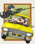 2girls armor bangs bare_arms bare_shoulders black_footwear black_gloves black_neckwear boots breasts brown_hair car cleavage commentary_request dacia_1300 driving finger_on_trigger fingerless_gloves gameplay_mechanics gloves green_eyes grin ground_vehicle gun hair helmet highres holding hood hood_down hooded_jacket idolmaster idolmaster_cinderella_girls jacket jazzjack knee_boots long_sleeves medium_breasts morikubo_nono motor_vehicle multiple_girls necktie open_clothes open_jacket open_mouth pants parted_bangs playerunknown's_battlegrounds pocket ponytail rifle scope shirt sleeveless sleeveless_shirt smile sniper_rifle sweatdrop upper_teeth violet_eyes weapon white_pants white_shirt yamato_aki