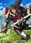 1boy armor beard blue_hair boots cape clouds copyright_name faceless faceless_male facial_hair fire_emblem fire_emblem:_kakusei fire_emblem_cipher furikawa_arika gloves grass headband helmet male_focus official_art open_mouth polearm priam shield sky solo spear sword torn_clothes weapon