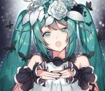 1girl :o alternate_costume aqua_eyes aqua_hair backlighting bangs bare_shoulders black_nails blush butterfly eyebrows_visible_through_hair flower gradient gradient_background green_eyes green_hair hair_flower hair_ornament hatsune_miku headset hoshi_usagi leaf light_particles long_hair looking_at_viewer nail_polish open_mouth rose shiny shiny_hair sleeveless twintails upper_body very_long_hair vocaloid white_rose wrist_cuffs