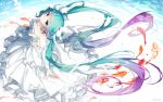 1girl aqua_eyes aqua_hair bai_yemeng collarbone dress earrings fish floating_hair from_above hatsune_miku highres jewelry long_hair looking_at_viewer solo twintails very_long_hair vocaloid white_dress