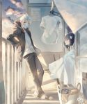 1boy 1girl ahoge arm_support balcony bandage bandaged_head bangs black_hair blue_sky blunt_bangs cardbox clothes_hanger commentary_request curtains day gradient_sky hakuri hood hoodie laundry laundry_basket laundry_pole leaning_on_rail looking_at_another looking_away looking_back mask official_art onii-san_(sachi-iro_no_one_room) open_clothes open_hoodie open_mouth pants profile railing red_eyes sachi-iro_no_one_room sachi_(sachi-iro_no_one_room) sandals shirt signature silver_sky sky sliding_doors squatting standing sunlight surgical_mask t-shirt white_eyes white_hair white_shirt window_shade wrapped_up