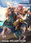 1boy beret blonde_hair book boots brown_eyes cape clouds copyright_name drill_hair fire_emblem fire_emblem_cipher fire_emblem_if foleo_(fire_emblem_if) furikawa_arika gloves hat horse long_hair male_focus official_art sky solo sparkle trap