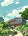 blue_sky clouds day door flower grass house no_humans original outdoors path road rural scenery sky tree wind_turbine windmill window yk_funa