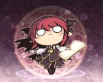 >:( 1girl ascot bat_wings book chibi circle collared_shirt commentary_request dress_shirt eyebrows_visible_through_hair frown full_body glowing greek head_wings hexagram holding holding_book koakuma light_particles long_hair low_wings magic_circle nekoguruma o_o open_book pointy_ears redhead shirt solo touhou vest white_shirt wide_face wings