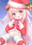 1girl :d animal_ears bangs bear_ears bear_girl bear_tail bell blonde_hair blush boots box brown_eyes commentary_request cross-laced_footwear eyebrows_visible_through_hair fang fingernails fur-trimmed_boots fur-trimmed_hat fur-trimmed_shirt fur-trimmed_sleeves fur_trim gift gift_box hair_between_eyes hat head_tilt holding holding_gift holly lace-up_boots long_hair looking_at_viewer open_mouth original polka_dot red_footwear red_hat red_shirt santa_boots santa_costume santa_hat shirt sitting sleeves_past_wrists smile snowing solo striped striped_legwear tail thigh-highs usashiro_mani very_long_hair