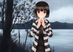 1girl akemiho_tabi_nikki black_hair fukube_tamaki kouno_hikaru looking_at_viewer mountain outdoors red_eyes scenery short_hair solo standing striped tree visible_air water