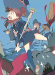 broom broom_riding brown_hair diana_cavendish hair_over_one_eye half-closed_eyes hat kagari_atsuko little_witch_academia long_hair lotte_jansson luna_nova_school_uniform multiple_girls pale_skin red_eyes short_hair simple_background sucy_manbavaran wand witch witch_hat yuuki_(irodo_rhythm)