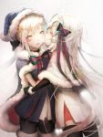2girls artoria_pendragon_(all) bangs black_legwear blonde_hair blue_cloak blue_dress blue_hat blush_stickers bow christmas commentary dress eyebrows_visible_through_hair fate/grand_order fate_(series) fur-trimmed_capelet fur-trimmed_cloak fur-trimmed_hat green_bow green_ribbon hair_bow hat headpiece highres imminent_kiss jeanne_d'arc_(fate)_(all) jeanne_d'arc_alter_santa_lily long_hair multiple_girls pantyhose pleated_dress profile ribbon sa'yuki santa_alter santa_hat snowing striped striped_bow striped_ribbon thigh-highs very_long_hair white_capelet white_dress white_hair yellow_eyes yuri