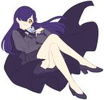 1girl aikatsu! bangs bare_legs blouse cape full_body grey_blouse hair_over_one_eye high-waist_skirt high_heels highres kurosawa_michiru legs_crossed long_hair long_sleeves looking_at_viewer no_socks one_eye_covered parted_lips purple_cape purple_footwear purple_hair purple_skirt sekina simple_background sketch skirt smile solo white_background yellow_eyes