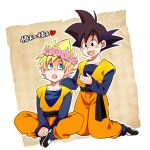 2boys :d :o black_eyes black_hair blonde_hair blue_eyes character_name clone dougi dragon_ball dragonball_z flower happy head_wreath heart kneeling long_sleeves looking_at_another male_focus multiple_boys open_mouth rochiko_(bgl6751010) simple_background sitting smile son_goten super_saiyan translated white_background