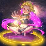 1girl armlet blonde_hair blue_eyes bracelet crop_top feet full_body heterochromia highres hong_yu jewelry league_of_legends long_hair midriff multicolored_hair navel necklace open_mouth purple_hair sarong scarf shorts sitting sky smile solo star_(sky) starry_sky toeless_legwear toes two-tone_hair v very_long_hair violet_eyes zoe_(league_of_legends)