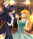 2girls absurdres animal_ears black_hair blake_belladonna blonde_hair blue_dress cat_ears commentary_request dancing dress highres multiple_girls ottey rwby tuxedo violet_eyes yang_xiao_long yellow_eyes yuri