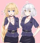 2girls absurdly_long_hair ahoge blonde_hair blue_eyes blush braid breasts cleavage closed_mouth collarbone eyebrows_visible_through_hair fate/grand_order fate_(series) flying_sweatdrops hand_on_hip holding_whistle jeanne_d'arc_(alter)_(fate) jeanne_d'arc_(fate) jeanne_d'arc_(fate)_(all) large_breasts long_hair looking_at_viewer multiple_girls open_mouth police police_uniform policewoman rossa_(pixiv27548922) short_hair smile sweatdrop uniform very_long_hair whistle white_hair yellow_eyes