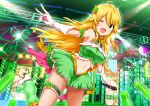 1girl ;d ahoge bangs blonde_hair breasts crop_top eyebrows_visible_through_hair frills glowstick green_eyes green_skirt hair_between_eyes hair_ornament holding holding_microphone hoshii_miki idolmaster large_breasts leg_garter long_hair looking_at_viewer maruwa_tarou microphone navel one_eye_closed open_mouth skirt smile solo stage standing standing_on_one_leg star star_hair_ornament tareme