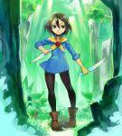 1girl battle_chef_brigade black_eyes black_hair boots dual_wielding forest kickstarter knife mina_han nature shigehiro_(hiroi_heya) short_hair solo