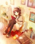 1girl animal_hat ankle_boots black_legwear blue_eyes blush book boots brown_hair butterfly cat drawing flower hair_ribbon hat indoors letter light_particles looking_at_viewer looking_up nekokan_masshigura note original painting_(object) plaid plant pleated_skirt potted_plant puffy_short_sleeves puffy_sleeves quilt ribbon sailor_collar shadow short_hair short_sleeves sitting sketchbook skirt skirt_set smile solo suitcase sunlight thigh-highs wooden_floor