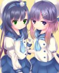 2girls beret blue_hair freckles gloves green_eyes hair_ornament hairband hairclip hat highres kantai_collection long_hair looking_at_viewer matsuwa_(kantai_collection) multicolored_hair multiple_girls school_uniform short_hair_with_long_locks simple_background smile tsushima_(kantai_collection) white_gloves
