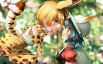 2girls :d animal_ears backpack bag black_gloves blonde_hair blurry blurry_background bow bowtie breasts bucket_hat closed_eyes commentary_request elbow_gloves extra_ears eyebrows_visible_through_hair face-to-face gloves green_eyes hat hat_feather high-waist_skirt kaban_(kemono_friends) kemono_friends medium_breasts multiple_girls open_mouth print_gloves print_neckwear print_skirt profile puffy_short_sleeves puffy_sleeves red_shirt serval_(kemono_friends) serval_ears serval_print serval_tail shirt short_sleeves skirt sleeveless sleeveless_shirt smile tail welt_(kinsei_koutenkyoku) white_hat white_shirt yellow_eyes