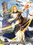 1boy book claude_(fire_emblem) clouds copyright_name day fire_emblem fire_emblem:_seisen_no_keifu fire_emblem_cipher furikawa_arika grass green_eyes long_hair male_focus official_art sky solo staff upper_body