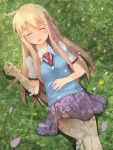 1girl ahoge blonde_hair blue_sweater closed_eyes day eyebrows_visible_through_hair from_above grass grey_shirt highres long_hair lying miniskirt on_back open_mouth outdoors petals pleated_skirt purple_skirt red_neckwear sakura-sou_no_pet_na_kanojo shiina_mashiro shirt short_sleeves skirt sleeping solo sweater sylux very_long_hair