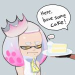 ... 2girls cake colo_(nagrolaz) crown dark_skin domino_mask fingerless_gloves food frown gloves grimace highres hime_(splatoon) iida_(splatoon) mask mole mole_under_mouth multicolored_hair multiple_girls octarian smile splatoon splatoon_2 spoken_ellipsis tentacle_hair white_hair yellow_eyes zipper