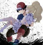 1boy 1girl black_hair blonde_hair brown_eyes green_eyes highres kuriyama lillie_(pokemon) pokemon pokemon_(anime) pokemon_sm_(anime) satoshi_(pokemon) z-ring