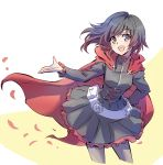 1girl bandolier cape corset grey_eyes highres iesupa open_mouth open_palm petals redhead ruby_rose rwby