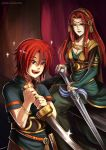 bracelet fire_emblem fire_emblem:_seima_no_kouseki gzei holding holding_sword holding_weapon ismaire jewelry joshua_(fire_emblem) long_hair mother_and_son redhead smile spiky_hair sword weapon younger