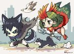 1boy 1girl animal_ears bird black_hair black_sclera blue_eyes diffraction_spikes dog dog_ears dog_tail flying green_eyes green_hair juuni_taisen niwa_ryouka pitchfork running short_hair smile tail tsukui_michio twitter_username white_skin