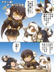 3girls azur_lane belt black_hair brown_hair cake chibi close-up comic commentary_request dress eating epaulettes feeding food fruit hair_ribbon hand_holding hands hands_on_hips highres hisahiko horns kantai_collection long_hair long_sleeves low_ponytail mikasa_(azur_lane) military military_uniform mittens multiple_girls northern_ocean_hime open_mouth orange_eyes plate ponytail ribbon shinkaisei-kan sidelocks skirt smile strawberry thigh-highs translation_request uniform white_hair white_legwear younger |_|