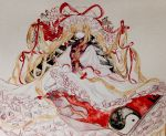1girl absurdly_long_hair artist_request blonde_hair bow commentary dress eyes flower frilled_dress frills gap hair_bow hat hat_ribbon highres long_hair long_sleeves looking_at_viewer mob_cap open_mouth ribbon solo tabard touhou traditional_media very_long_hair violet_eyes watercolor_(medium) white_dress wide_sleeves yakumo_yukari