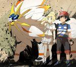 1boy 1girl black_hair blonde_hair brown_eyes green_eyes kuriyama lillie_(pokemon) pokem pokemon pokemon_(anime) pokemon_(game) pokemon_sm pokemon_sm_(anime) satoshi_(pokemon) solgaleo