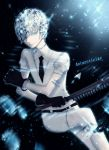 amputee androgynous antarcticite belt black_gloves black_neckwear blue_eyes blue_hair broken character_name closed_mouth collared_shirt crystal czy_(2894456992) gloves grey_shirt grey_shorts highres holding holding_sword holding_weapon houseki_no_kuni light_particles looking_at_viewer necktie puffy_short_sleeves puffy_sleeves shiny shiny_skin shirt short_hair short_sleeves shorts solo sword weapon wing_collar