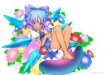 1girl artist_name barefoot blue_bow blue_eyes blue_hair blush bow cirno closed_mouth eyebrows_visible_through_hair food hair_bow hidden_star_in_four_seasons ice ice_cream ice_cream_cone ice_wings looking_at_viewer multicolored_hair puffy_short_sleeves puffy_sleeves purple_hair short_hair short_sleeves smile solo tan tanned_cirno tansan_daisuki touhou two-tone_hair wings