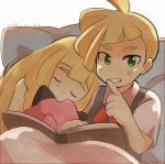 1boy 1girl blonde_hair book brother_and_sister clefairy closed_eyes finger_to_mouth gladio_(pokemon) green_eyes lillie_(pokemon) long_hair open_book pillow pokemon pokemon_(anime) pokemon_sm_(anime) short_hair short_sleeves shushing siblings siroromo sleeping stuffed_toy younger