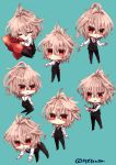 1boy ahoge bangs black_footwear black_pants blush brown_hair chibi closed_eyes commentary eyebrows_visible_through_hair fate/apocrypha fate_(series) green_background highres holding holding_notepad holding_pencil kneeling long_pants long_sleeves looking_at_viewer looking_back looking_to_the_side male_focus notepad pants pencil pillow pillow_hug red_eyes rono_(7272usa) shirt shoes short_hair sieg_(fate/apocrypha) sleeping solo solo_focus waistcoat white_shirt