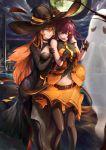 >_< 2girls arm_belt ascot bangs bare_shoulders black_gloves black_legwear blunt_bangs breasts brown_hair choker cityscape cleavage closed_mouth collared_dress cowboy_shot crescent_moon_symbol cross cross_necklace elbow_gloves fishnet_pantyhose fishnets ghost girls_frontline gloves green_eyes grey_gloves halloween halloween_costume hand_on_another's_arm hand_on_another's_shoulder hands_up hat hat_ornament highres jewelry large_breasts looking_at_another m1903_springfield_(girls_frontline) midriff multiple_girls navel necklace open_mouth pantyhose parted_lips pumpkin purple_hair purple_neckwear red_eyes renze_l sidelocks signature simple_background smile standing star_hat_ornament thigh-highs v-shaped_eyebrows wa2000_(girls_frontline) white_background wind wing_collar witch_hat