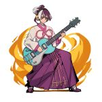 1girl :< electric_guitar full_body guilty_gear guilty_gear_xrd guitar headphones high_heels highres instrument korean_clothes kum_haehyun multicolored_hair music playing_instrument purple_footwear purple_hair serious short_ponytail solo two-tone_hair uncle_rabbit_ii violet_eyes white_hair wireless