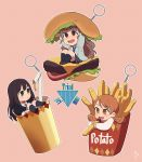 3girls artist_request bangs blunt_bangs brown_eyes brown_hair cardigan drink drinking_straw eating fast_food food french_fries green_eyes hair_bun hamburger holding holding_food houjou_karen idolmaster idolmaster_cinderella_girls kamiya_nao ketchup keychain long_hair multiple_girls open_mouth shibuya_rin triad_primus