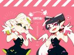 +_+ 2girls aori_(splatoon) artist_name black_dress black_hair black_jumpsuit catchphrase cousins cowboy_shot detached_collar domino_mask dress earrings english fangs food food_on_head green_eyes grey_hair heart hotaru_(splatoon) jewelry long_hair looking_at_viewer mask mole mole_under_eye multiple_girls object_on_head open_mouth parted_lips pink_background pointy_ears seto_(asils) short_dress short_hair short_jumpsuit signature smile splatoon splatoon_1 spoken_heart squid_pose standing strapless strapless_dress violet_eyes white_hair
