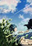 1girl aiki_(pixiv24869763) aqua_eyes aqua_hair backlighting bare_legs bird blue_sky blush_stickers brown_footwear clouds cloudy_sky commentary_request condensation_trail crow day feathers flapping flock green_skirt highres holding jitome knees_up light_smile looking_at_another nature no_pupils no_socks original outdoors outstretched_arm path pleated_skirt profile road sandals school_uniform shade shirt sitting skirt sky solo sweater_vest tree_shade weeds white_shirt