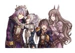 1boy 3girls armor breastplate brown_hair closed_eyes cynthia family fire_emblem fire_emblem:_kakusei grey_hair grin gzei head_wreath male_my_unit_(fire_emblem:_kakusei) mark_(fire_emblem) multiple_girls my_unit_(fire_emblem:_kakusei) pauldrons simple_background smile sumia white_background