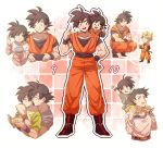 2boys ? black_eyes black_hair blonde_hair boots carrying dougi dragon_ball dragon_ball_gt dragonball_z father_and_son hug hug_from_behind kneeling looking_at_another male_focus multiple_boys number pink_background salute short_hair simple_background son_gokuu son_goten spiky_hair super_saiyan white_background