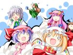 :d ^_^ alternate_hair_color ascot bat_wings blonde_hair blood blue_hair blush bow braid brown_hair chibi china_dress chinese_clothes closed_eyes crescent dress expressionless flandre_scarlet flying_kick frills hair_bow hand_on_own_cheek hand_on_own_face hat hat_ribbon head_wings highres hong_meiling izayoi_sakuya kamiya_tomoe kicking knife knifed koakuma maid maid_headdress necktie nosebleed o_o open_mouth patchouli_knowledge pink_dress purple_hair red_dress remilia_scarlet ribbon side_slit silver_hair smile smoke star teardrop touhou twin_braids wallpaper wings
