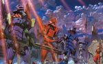 1boy 2girls ayanami_rei city eva_00 eva_01 eva_02 ikari_shinji mecha neon_genesis_evangelion rifle ruins souryuu_asuka_langley spear sword weapon
